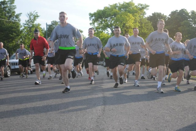 Spartan Soldiers and Watertown, N.Y. city staff start off on their three-mile run through Thompson Park, June 8, before heading to Watertown City Hall for a meeting with city council members.