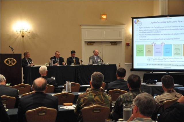Experts from U.S. Army Training and Doctrine Command discussed the Network Integration Evaluations and the Agile Process during the Virginia Peninsula General Douglas MacArthur Chapter of the Association of the United States Army professional development forum in Williamsburg, Va., June 21, 2012.