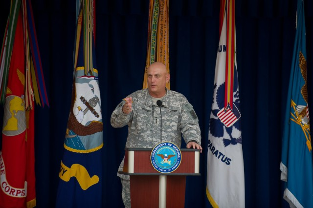 U.S. Army Chief of Staff Gen. Raymond T. Odierno gives his remarks during the Department of Defense Warrior Games recognition ceremony at the Pentagon, June 25, 2012.