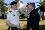 Master Sgt. James Monroe congratulated by Commander of the U.S. Special Operations Command, Adm. William McRaven