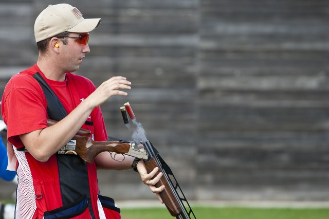 Staff Sgt. Josh Richmond, U.S. Army Marksmanship Unit, looks on after knocking down a pair of targets at a match in Sydney last year. The 2010 Double Trap World Champion will be making his first trip to the Olympics and is among the favorites to win a medal.