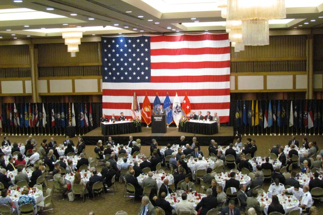 About 1,000 business, community, veteran and Soldier leaders attend the Armed Forces Celebration Week's Salute Luncheon on June 13 at the Von Braun Center's North Hall to honor those who have served and who currently serve in the military.