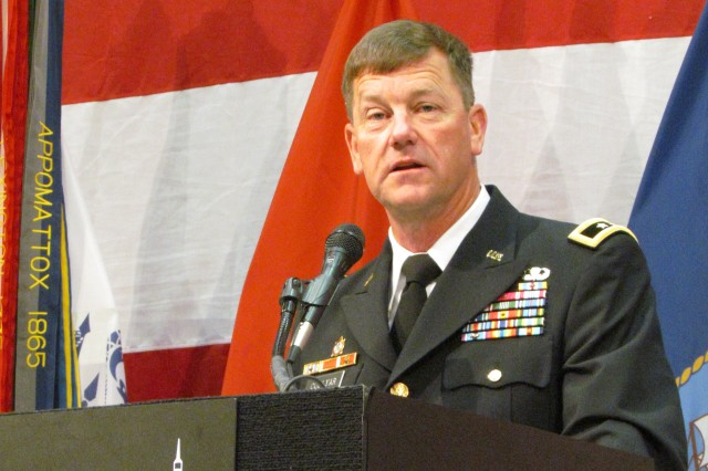AMCOM commander Maj. Gen. Lynn Collyar expresses his appreciation to the Huntsville/Madison County/Tennessee Valley community during his comments as the keynote speaker at the Armed Forces Celebration Week Salute Luncheon.