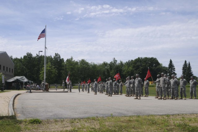 "U.S. ARMED FORCES RESERVE CENTER, Londonderry, N.H. "" Soldiers from the 368th Engineer Battalion stand in formation during a change of command ceremony, June 9.  (U.S. Army photo by Spc. Anthony T. Zane, 362nd MPAD)"