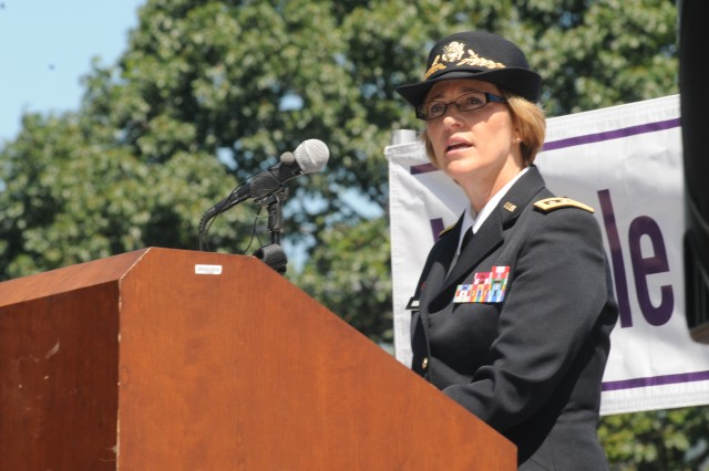 Surgeon General of the Army Lt. Gen. Patricia Horoho delivers remarks, June 27, 2012, on Capitol Hill for National Post-Traumatic Stress Disorder Awareness Day.