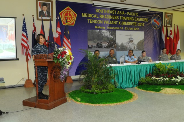 Rear Admiral Raquel Bono, Command Surgeon, U.S. Pacific Command, speaks, during the closing ceremony for Exercise Tendon Valiant 2012 a six day multi-national Medical Readiness Training Exercise, led by 18th Medical Command (Deployment Support), and US Army Pacific, Surgeon's office and hosted by the Indonesian National Armed Forces - Tentara National Indonesia 18-23 June.