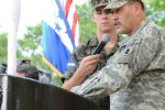 Maj. Gen. Simeon G. Trombitas, the U.S. Army South commanding general, speaks at the closing ceremony for BTH Honduras 2012.