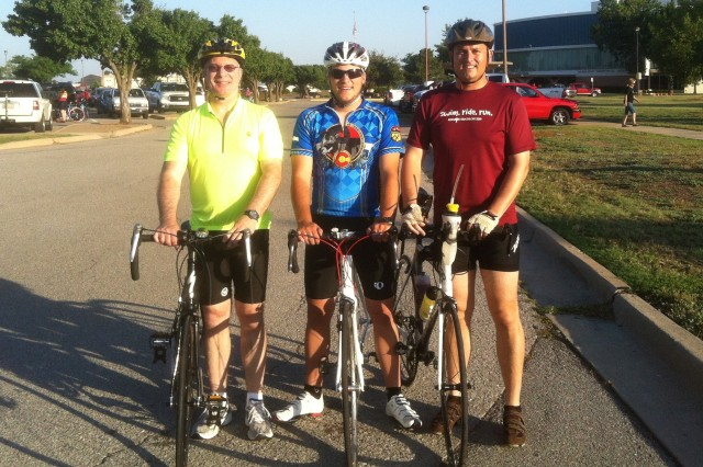 Rick West, Braden West, and Brad Carter, employees from the Tulsa District, Fort Sill Area Office, participated in the Tour of the Wichitas/Tom Chapman Memorial Ride. Chapman was a former Fort Sill Area Office employee who was fatally injured during last year's ride.