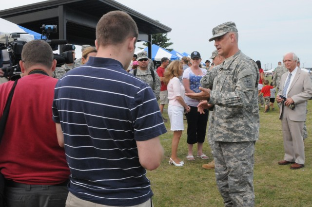 Sergeant Major of the Army Raymond Chandler speaks to local media after speaking at Fort Drum's annual Salute to the Nation ceremony June 28. Salute to the Nation was one of several events that took place during Mountainfest.