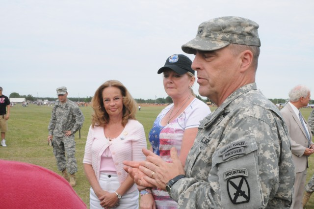 Maj. Gen. Mark A. Milley, Fort Drum and 10th Mountain Division (LI) commander, introduces two Gold Star mothers, Dawn Esposito and Chrys Kestler, to local reporters June 28. Both women made the trip to Northern New York to participate in Mountainfest.