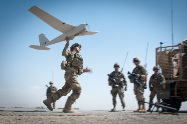 Paratroopers launch packable drone