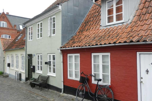 A glance down one of Haderslev's side streets reveals houses that are dwarfish by American standards.