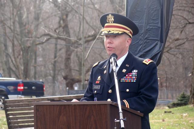 Outgoing Picatinny Arsenal garrison commander, Lt. Col. Charles (Herb) Koehler, speaks at the garrison change of command ceremony, June 18, 2012.
