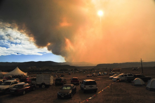 Smoke from the High Park fire seen from the Incident Command Post at the Colorado National Guard Readiness Center near Fort Collins, Colo.
