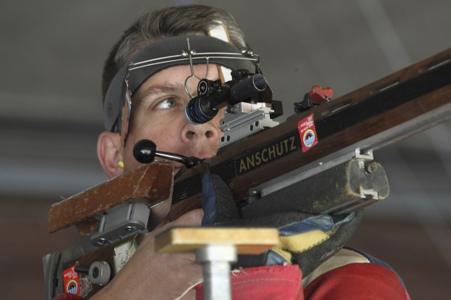 Sgt. 1st Class Jason Parker takes aim during the Men's Three-Position Rifle match at the Italy World Cup in Milan, in May. Parker bested the field of 2012 Olympians and won the gold medal, proving that he will be a medal contender in London. This will be Parker's fourth trip to the Olympics.