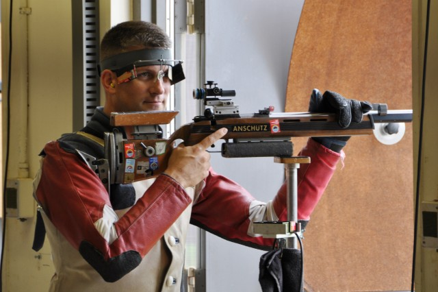 An expression of relief flashes across the face of Sgt. 1st Class Jason Parker, U.S. Army Marksmanship Unit, after realizing that he won the Men's Three-Position match June 11, 2012, at the U.S. Olympic Trials for smallbore shooting at Pool Range on Fort Benning, Ga. Parker secured a fourth trip to the Olympics and looks to bring back his first medal.