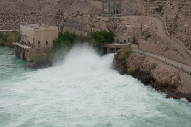 Water exits the Kajaki Dam power house in early April 2012, in southern Afghanstan.
