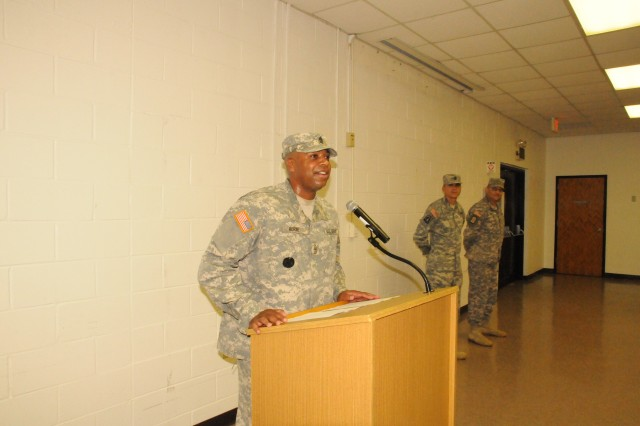 "GEORGE A. MORRIS ARMY RESERVE CENTER, Miss.""Outgoing first sergeant, 1st Sgt. Julius Horne, says farewell to the Soldiers of HHC, 412th Theater Engineer Command, during a change of responsibility ceremony held here, July 8, 2012."