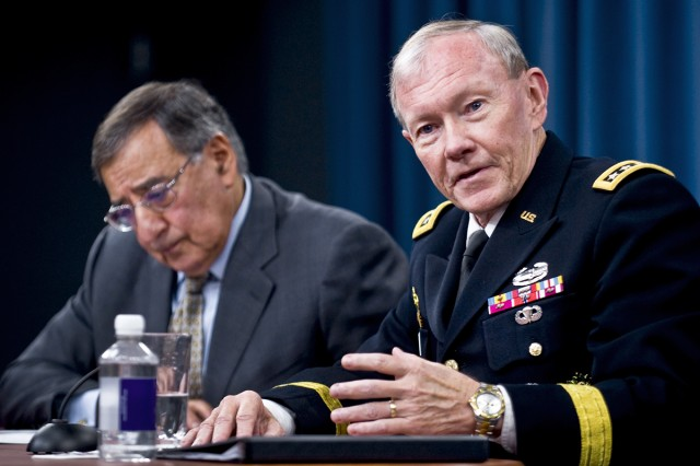 Defense Secretary Leon E. Panetta and Gen. Martin E. Dempsey, chairman of the Joint Chiefs of Staff, brief reporters at the Pentagon, June 29, 2012.
