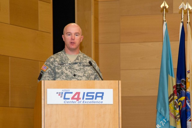 Lt. Col. Joseph W. Roberts, incoming product manager for Warfighter Information Network-Tactical (WIN-T) Increment 3, addressed the Project Manager WIN-T workforce during the change of charter ceremony at the Myer Auditorium in Aberdeen Proving Ground, Md. on June 29, 2012.