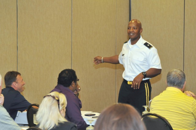 Recruiting Command Deputy Commanding General Brig. Gen. Henry L. Huntley speaks at the Kentucky Association of Secondary School Principals summer conference, in Lexington, Ky., at the end of June.