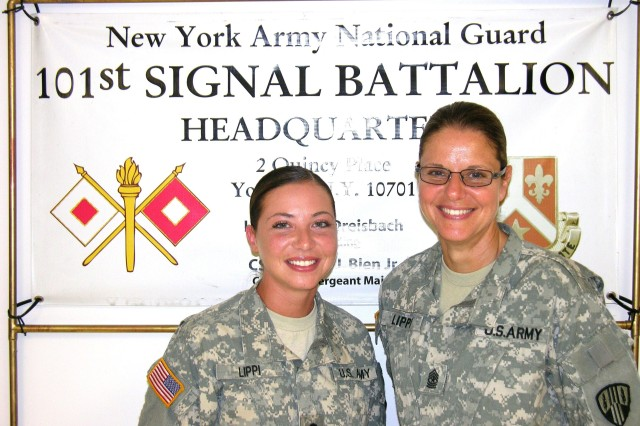 CAMP SMITH, New York-- Specialist Alexandra Lippi, left, and her mother Sgt. Major Gina Lippi will deploy to Afghanistan later this year with the New York Army National Guard's 101st Expeditionary Signal Battalion.