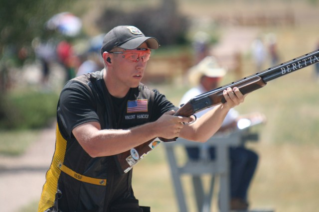 Sgt. Vincent Hancock, U.S. Army Marksmanship Unit, competes in the Olympic Trials in Tucson, Ariz., in May. Hancock, the defending gold medalist in Men's Skeet, will go for his second Olympic medal in less than two weeks in London.