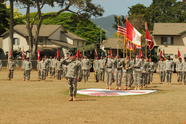 """Sappers in"" 130th Engineer Brigade passes the guidon"
