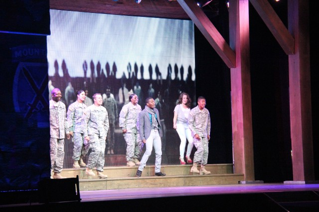 The cast of the 2012 U.S. Army Soldier Show performed to a capacity crowd July 8 at Fort McCoy, Wis. The theme for the 2012 U.S. Army Soldier Show, Army Strong, came through at every juncture of the performance. The balance of fast- and slow-tempo musical selections kept the audience engaged and participating. An LED screen provided constantly changing backdrops.