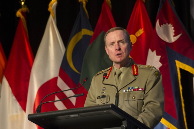 Australian Chief of Army provides his opening remarks during PAMS