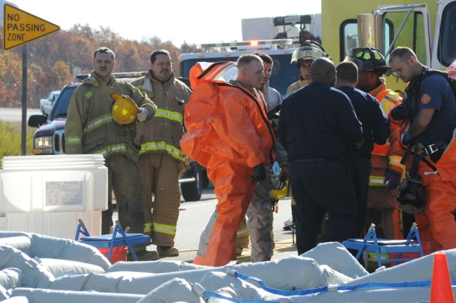 Fort Leonard Wood Fire Department personnel set up first response hazardous material operations