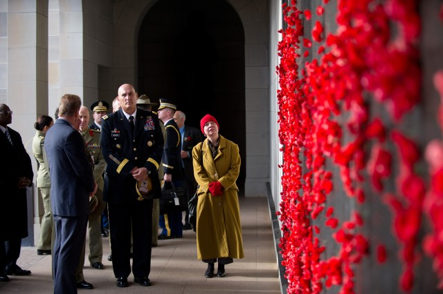 U.S. Army Chief of Staff Gen. Raymond T. Odierno observes the red Poppies adorning the panels of the Australian Memorial's Roll of Honour during a visit, July 18, 2012, in Canberra, Australia. Odierno and senior Army personnel from 27 Pacific nations attended the 36th Pacific Armies Management Seminar in Canberra.