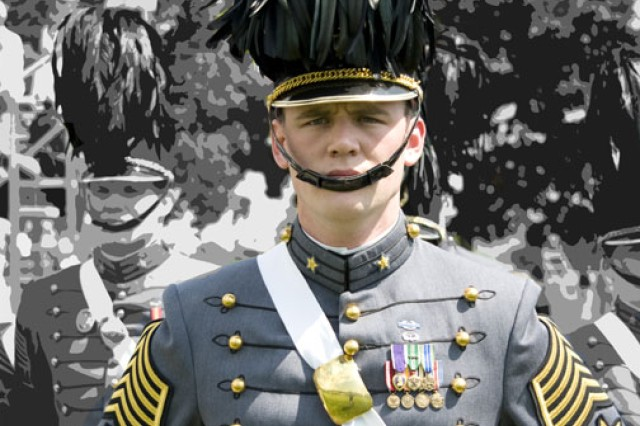 Now-1st Lt. Tyler Gordy, cadet first captain for the 2009-2010 school year, stands in front of his staff during one of the 2009 fall reviews. The former sergeant entered West Point through the Soldier Admission Program and eventually became its highest ranked cadet.