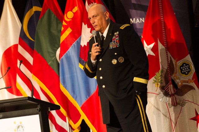 U.S. Army Chief of Staff Gen. Raymond Odierno addressed over 100 Army delegates from 27 nations, July 18 at the Pacific Armies Management Seminar held at Canberra, Australia.