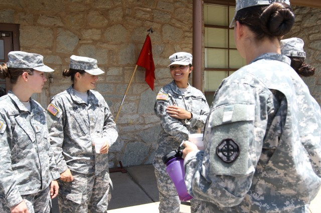 1st Lt. Kimberly Kopack (third from left) talks to Basic Officer Leader Course students at Fort Sill about her combat patch and time as a cultural support team female attached to a special forces group during an Afghanistan deployment. Kopack is the B Battery, 1st Battalion, 30th Field Artillery BOLC common corps officer in charge.