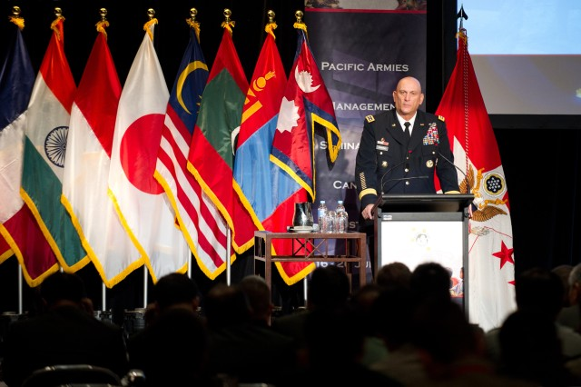 Chief of Staff Gen. Raymond T. Odierno gives his remarks at the 36th Pacific Armies Management Seminar, July 18, 2012, in Canberra, Australia. The event is being hosted by the Australian Army, U.S. Army Pacific and senior army personnel from 27 Pacific nations.