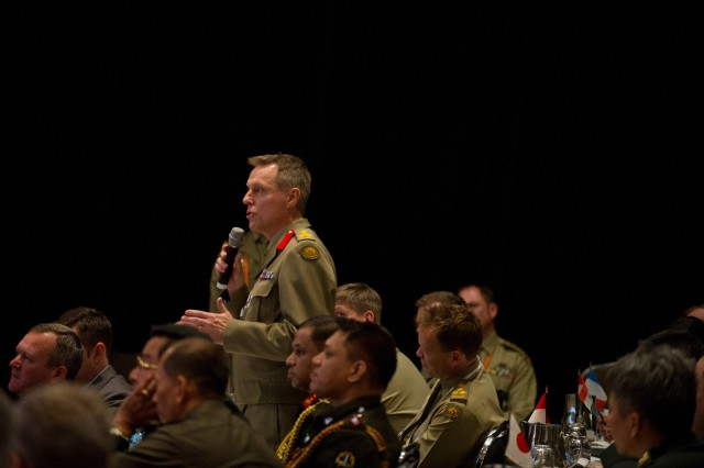An Australian Army officer ask a question to U.S. Army Chief of Staff Gen. Raymond T. Odierno during the 36th Pacific Armies Management Seminar, July 18, 2012, in Canberra, Australia.