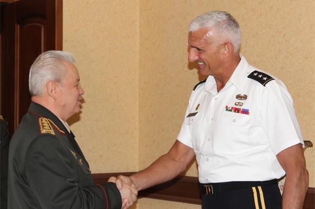 U.S. Army Europe Commander Lt. Gen. Mark P. Hertling met with military and diplomatic leaders of Azerbaijan July 19.