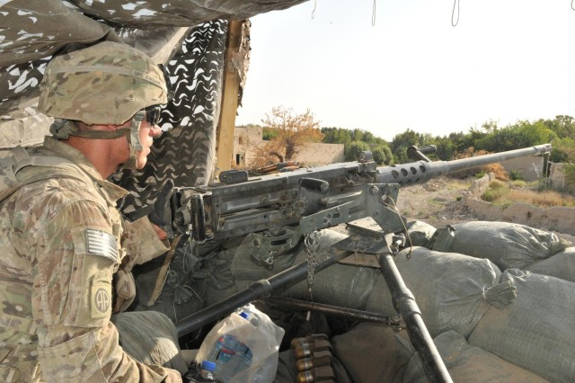 Spc. Ethan Ewbank, a paratrooper of 2nd Platoon, Alpha Company, 1st Battalion, 508th Parachute Infantry Regiment, scans his sector of the Azikzai police station, July 9, 2012, in Central Azikazi, Afghanistan. Soldiers maintain observational awareness of the area to mitigate enemy threats.
