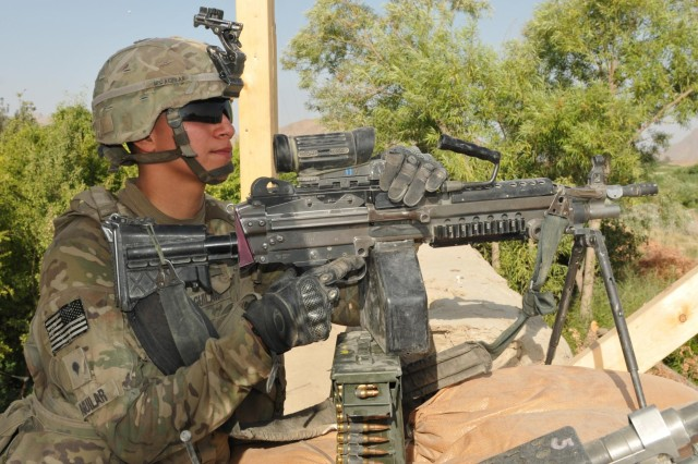 Spc. Aaron Aguilar, a paratrooper of 2nd Platoon, Alpha Company, 1st Battalion, 508th Parachute Infantry Regiment, scans his sector of the Azikzai police station, July 9, 2012, in Central Azikazi, Afghanistan. Second platoon Soldiers maintain observational awareness of the area to mitigate enemy threats.
