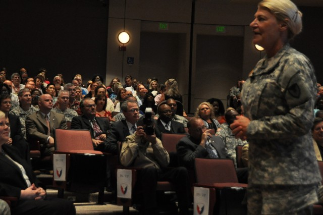 Gen. Ann E. Dunwoody, commander, U.S. Army Materiel Command hosted the AMC town hall and employee recognition day at the Bob Jones auditorium here,  Jul. 20. Dunwoody welcomed the audience, both present and the approximately 115 AMC organizations from around the globe watching via VTC.  She expressed her appreciation for their hard work and dedication to the warfighter and shared her thoughts on what the future holds for AMC.U.S. Army Photo by Cherish Washington, AMC Public Affairs.