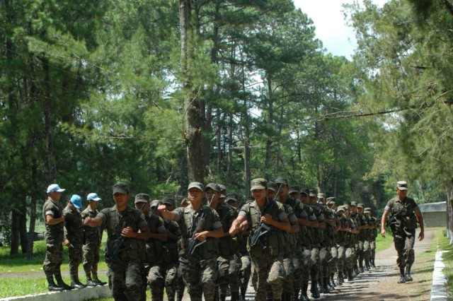 Guatemalan infantry, artillery and construction soldiers of the National Army of Guatemala march to the closing ceremony for Beyond the Horizon 2012 The ceremony was held at the Regional Training Command for Peacekeeping Operations (CREOMPAZ) on June 27, in Coban, Guatemala. BTH 2012 is a U.S. Army South exercise deploying military engineers and medical professionals to Guatemala for training, while providing services to rural communities