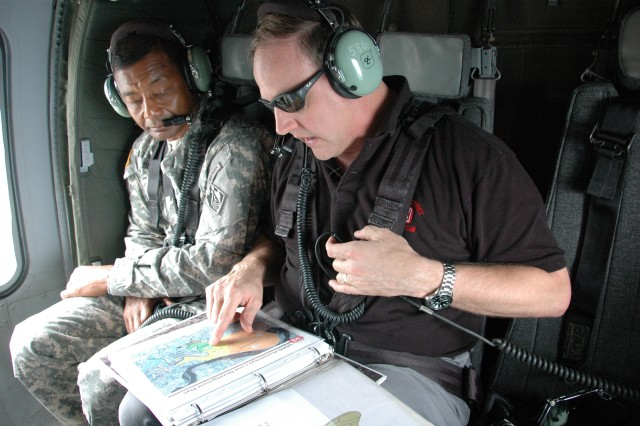 USACE Commanding General on a flight to U.S. Army Garrison Humphreys in the Republic of Korea
