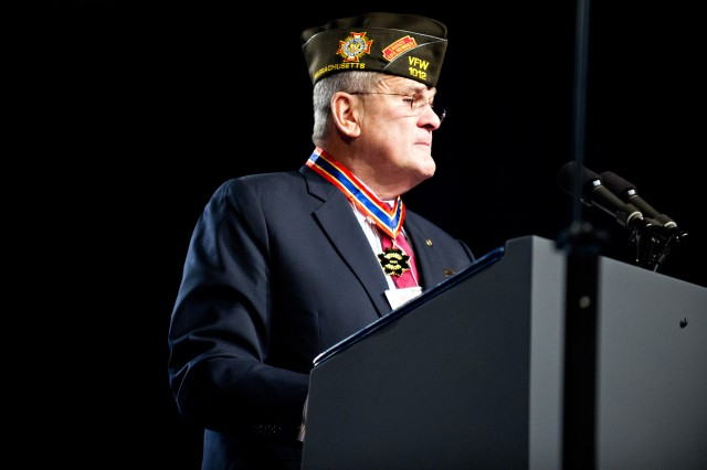 Richard L. DeNoyer, commander-in-chief of the Veterans of Foreign Wars, introduces the recipient of the VFW Dwight D. Eisenhower award, Chief of Staff of the Army Gen. Raymond T. Odierno, July 23, 2012, during the 113th VFW National Convention in Reno, Nev. The Dwight D. Eisenhower is the VFW's top award. VFW is America's oldest and largest major combat veterans' organization.