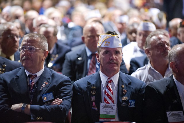 Members of the Veterans of Foreign Wars listen to Chief of Staff of the Army Gen. Raymond T. Odierno giving his remarks after receiving the Dwight D. Eisenhower award at the 113th VFW National Convention in Reno, Nev., July 23, 2012.