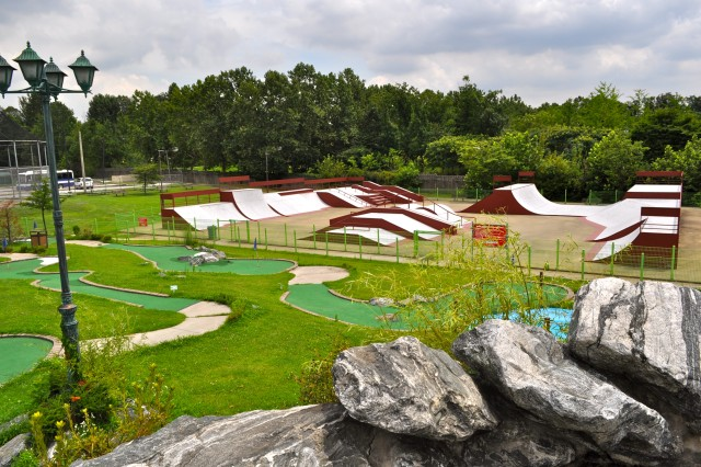 The renovations of the family fun park area included cleaning up the putt-putt golf course, skate park, batting cages and driving range. (U.S. Army photo by Cpl. Han Samuel)