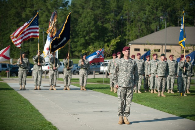 U.S. Army Soldiers from the Army Special Operations Command stand in formation during a change of command ceremony between Lt. Gen. John F. Mulholland and Lt. Gen. Charles T. Cleveland July 24, 2012, in Fort Bragg, N.C.