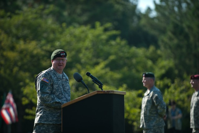 U.S. Army Lt. Gen. Charles T. Cleveland, the incoming commanding general, gives his remarks during the U.S. Army Special Operations Command change of command ceremony July 24, 2012 in Fort Bragg, N.C.