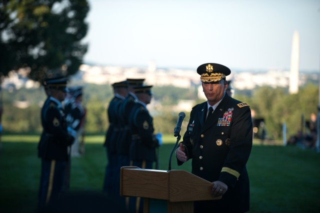 U.S. Army Chief of Staff Gen. Raymond T. Odierno gives his remarks during the Department of the Army tribute to retiring members of Congress at Whipple Field in Joint Base Myer-Henderson Hall, Va. July 25, 2012.