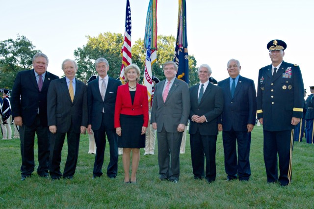"""Secretary of the Army John McHugh and Chief of the Staff of the Army General Ray Odierno recognize retiring members of Congress for their public service during the Twilight Tattoo on Whipple Field, Joint Base Myer-Henderson Hall, July 25, 2012.  McHugh praised the legislators' nearly 180 years of public service, saying the greater Army family has """"no greater friends - no more forceful champions - than those great individuals we pause to recognize tonight.""""  McHugh lauded the group's sacrifices and personal commitment to service members, and said the Army benefitted from these legislators whose """"guiding political principle was the best and strongest defense for our nation."""" Odierno thanked the Senators and Congressmen for their steadfast support to Soldiers and their Families during their tenure in Congress,"""" and praised them for further demonstrating their commitment to ensuring the Army has what it needs to be successful.  Pictured from Left: Rep. Norman Dicks, Sen. Joe Lieberman, McHugh, Sen. Kay Bailey Hutchinson, Sen. Ben Nelson, Rep. Jerry Lewis, Rep. Silvestre Reyes and Odierno."""